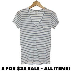 J Crew Linen Striped V-Neck Tee
